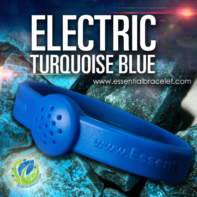 Electric Turquoise Blue rubber bracelet for essential oil diffusing
