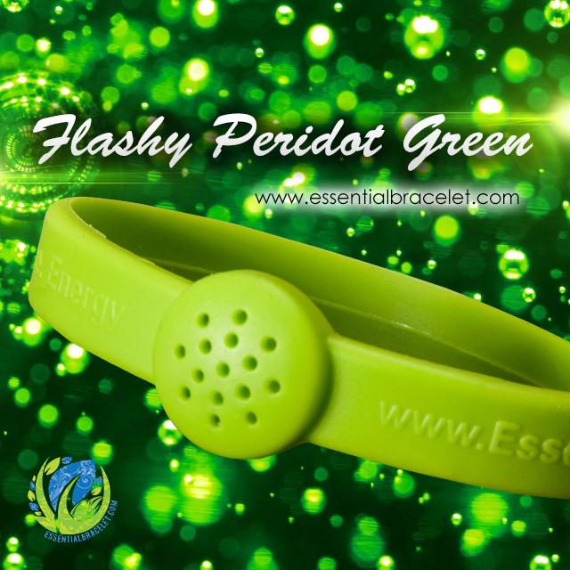 Flashy Peridot Green rubber aromatherapy bracelet