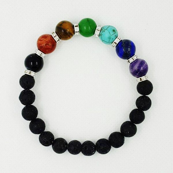 Chakra and Lava Stone Bracelet Aromatherapy beaded wristband