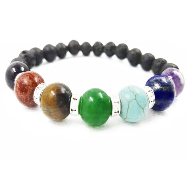 Chakra and Lava Stone Essential Beaded Bracelet