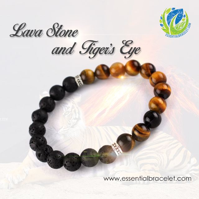 Lava Stone and Tiger's Eye essential oil designer bracelet