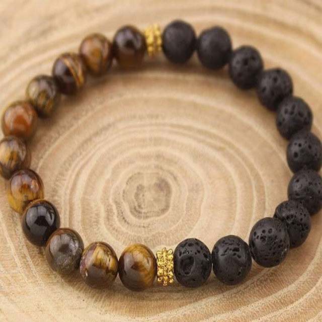 Lava and Tiger's Eye Bracelet for aromatherapy scents