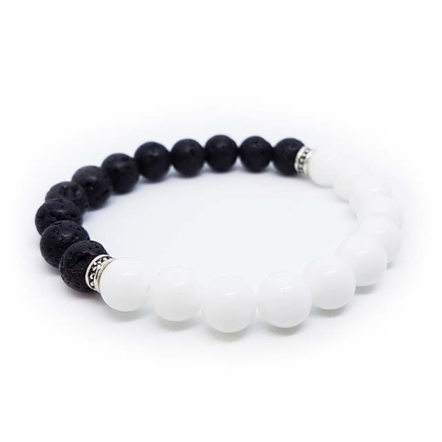 Aromatherapy essential oil white jade and lava stone bracelet