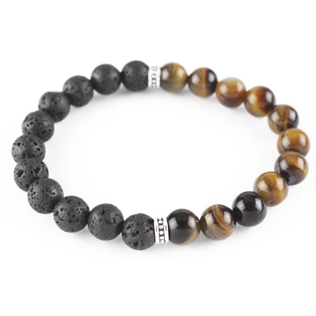 tiger's eye beaded lavastone bracelet for aromatherapy