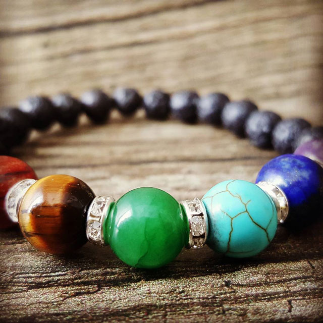 Chakra precious stones bracelet with lava stone from diffusing essential oils