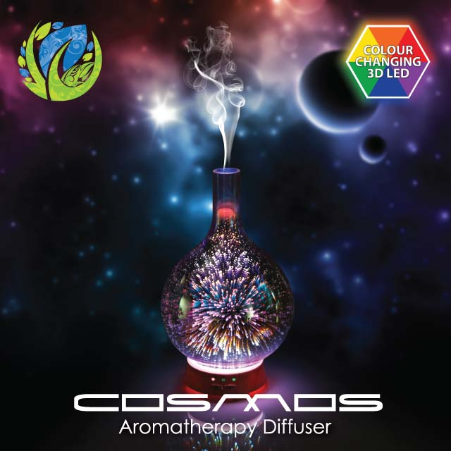 Cosmos multi-color glass ultrasonic diffuser on galaxy or universe themed background