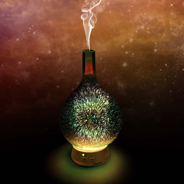 Cosmo long stem glass aromatherapy diffuser (Color changes from orange to green)