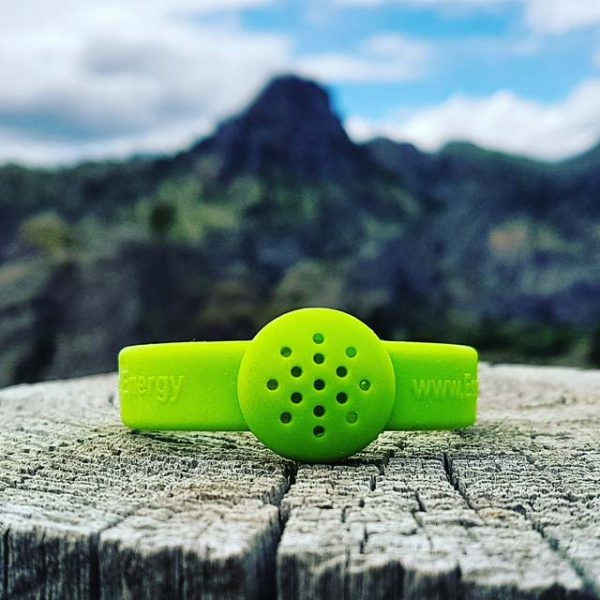 Flashy Peridot Green essential oil silicone rubber bracelet livestrong (mountain background)