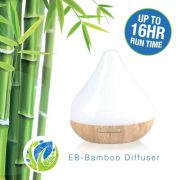 LED color changing essential oil ultrasonic diffuser (White and bamboo grain)