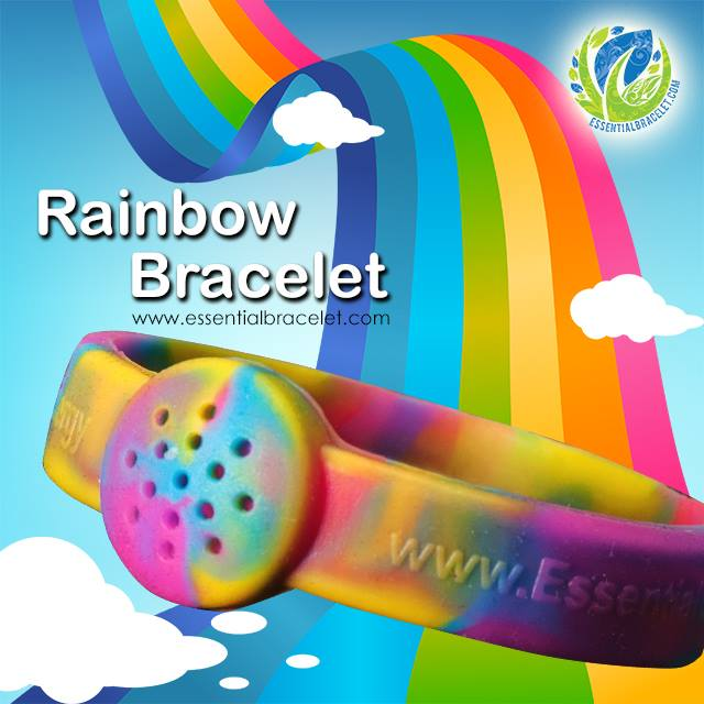 Rainbow multi-colored silicone bracelet