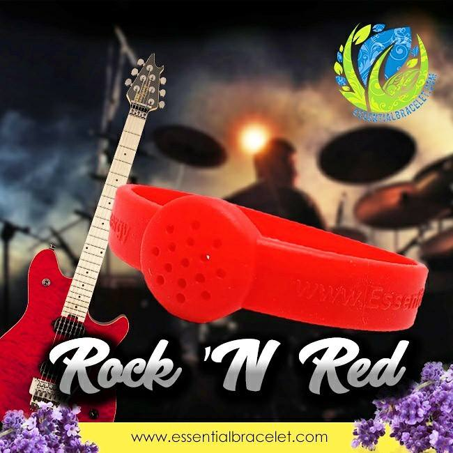 Rock n' Red silicone bracelet with clay tablet for diffusing essential oils