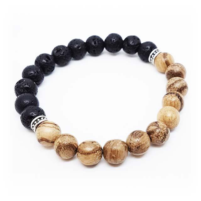 Sandalwood and lava stone bracelet