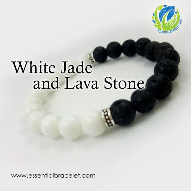 White Jade and Lava Stone essential oil diffusing bracelet